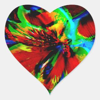Sticker Cœur Fleurs avec le coup-de-pied 1 de couleur