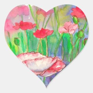 Sticker Cœur Fleurs rouges de pavot d'aquarelle