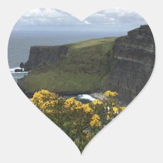 Sticker Cœur Fleurs sur les falaises de Moher