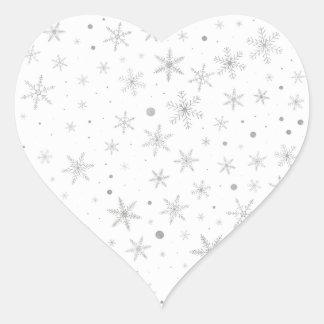Sticker Cœur Flocon de neige de scintillement - gris et Blanc