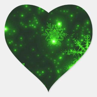 Sticker Cœur Flocons de neige avec l'arrière - plan vert