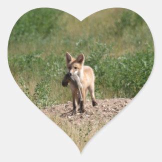 Sticker Cœur Fox rouge avec le déjeuner