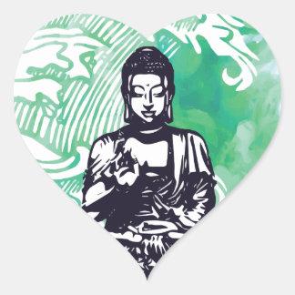 Sticker Cœur Fumée d'émeraude de vague de Bouddha d'ouragan