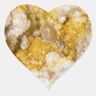 Sticker Cœur Geode demi avec les cristaux blancs et jaunes