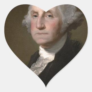 Sticker Cœur George Washington - portrait vintage d'art