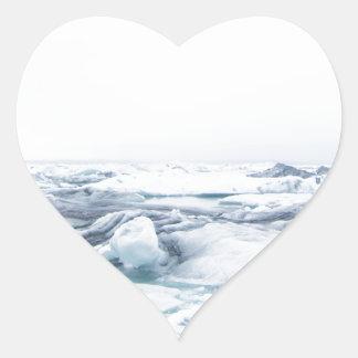 Sticker Cœur Glaciers de l'Islande - blanc