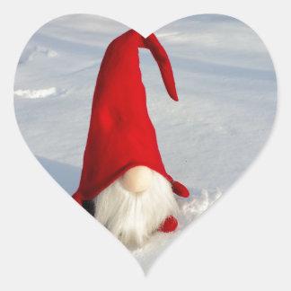 Sticker Cœur Gnome scandinave de Noël