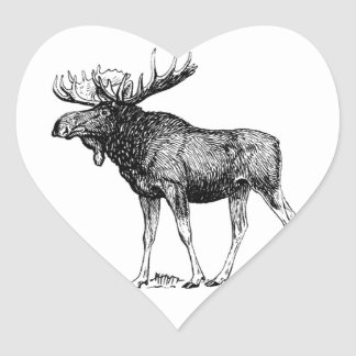 Sticker Cœur grand art d'orignaux de taureau
