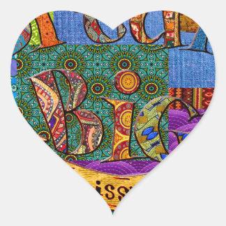 Sticker Cœur Grand collage terreux rêveur