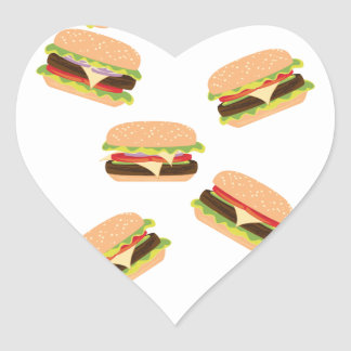 Sticker Cœur Grand hamburger savoureux