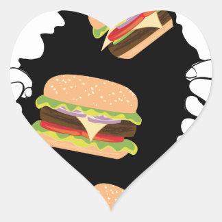 Sticker Cœur Grand hamburger savoureux et Hands3