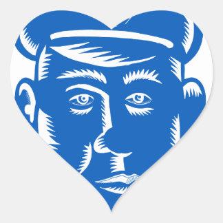 Sticker Cœur Gravure sur bois en tête de policier