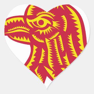 Sticker Cœur Gravure sur bois latérale principale en Eagle