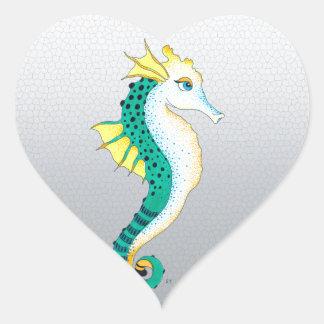 Sticker Cœur gris turquoise d'hippocampe