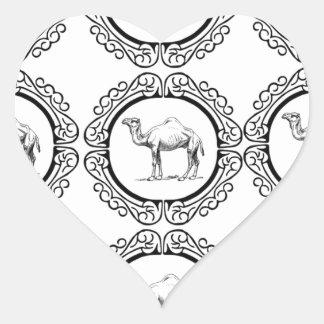 Sticker Cœur Groupe de chameau