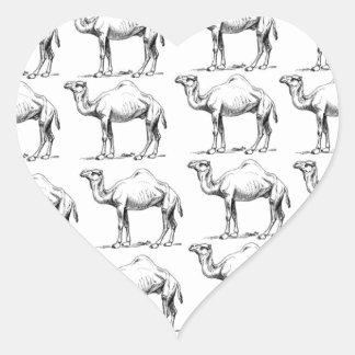 Sticker Cœur groupe de troupeau de chameaux