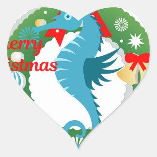 Sticker Cœur hippocampe de Joyeux Noël