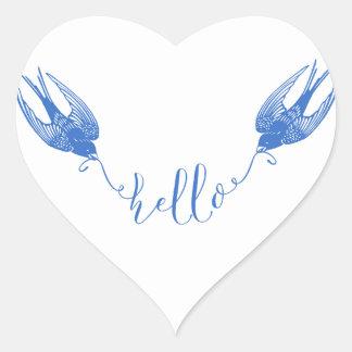 Sticker Cœur Hirondelle