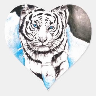 Sticker Cœur Hiver blanc de tigre sibérien