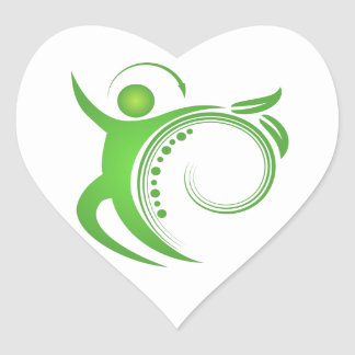 Sticker Cœur Homme en bonne santé d'épine de chiropractie