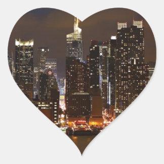 Sticker Cœur Horizon de nuit de Manhattan
