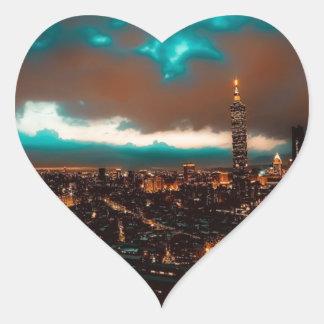 Sticker Cœur Horizon de nuit de Taïpeh