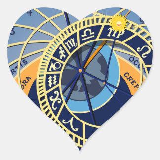 Sticker Cœur Horloge astrologique de Prague