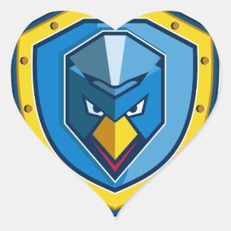 Sticker Cœur Icône bleue de bouclier de Mohawk de poulet