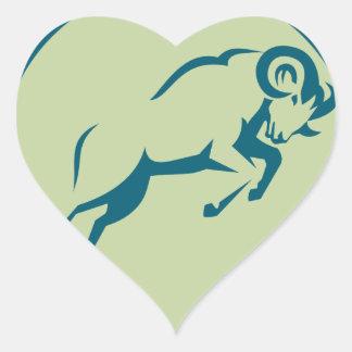 Sticker Cœur Icône sautante de cercle de moutons de montagne