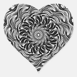 Sticker Cœur Illusion optique de griffonnage fleuri de zen