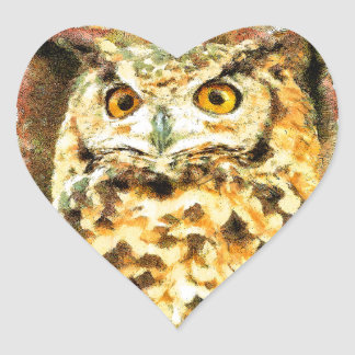 Sticker Cœur Illustration mignonne de hibou