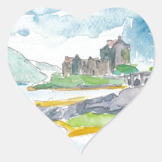 Sticker Cœur Imaginaire de montagnes de l'Ecosse et château