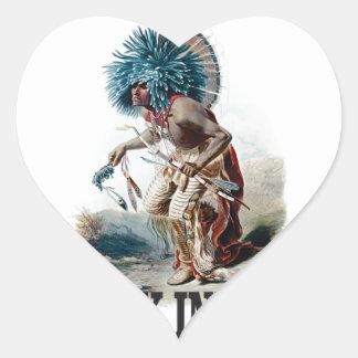 Sticker Cœur Indien punk bleu