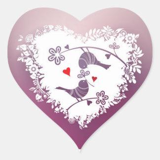 Sticker Cœur Inséparables mignons avec la Saint-Valentin de