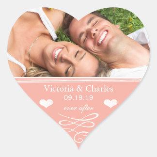 Sticker Cœur Invitations de corail de mariage de destination de