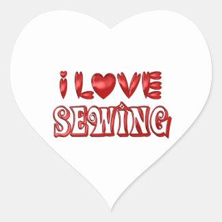 Sticker Cœur J'aime coudre