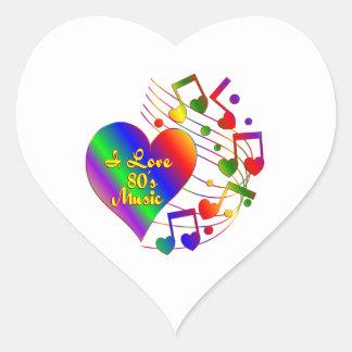 Sticker Cœur J'aime la musique 80s