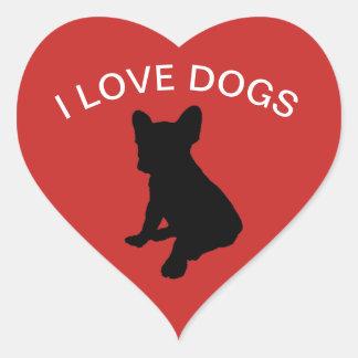 Sticker Cœur J'aime l'autocollant de chiens