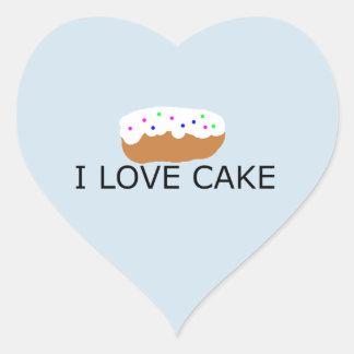 Sticker Cœur J'aime l'autocollant de gâteau