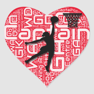 Sticker Cœur J'aime le net-ball