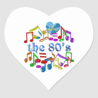 Sticker Cœur J'aime les années 80