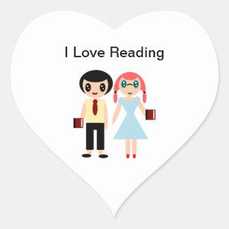 Sticker Cœur J'aime lire