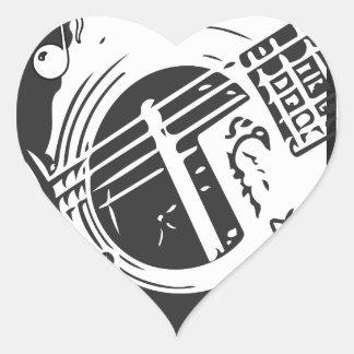 Sticker Cœur Jeu de guitare de mélomane noir et blanc
