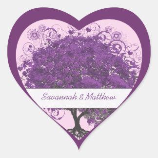 Sticker Cœur Joint de mariage d'arbre de feuille de coeur de