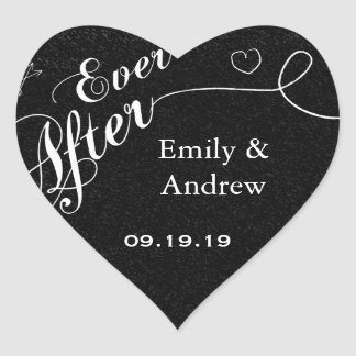 Sticker Cœur Joint de mariage de noir de tableau d'Everafter de