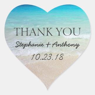 Sticker Cœur Joint de Merci de mariage de plage d'océan de