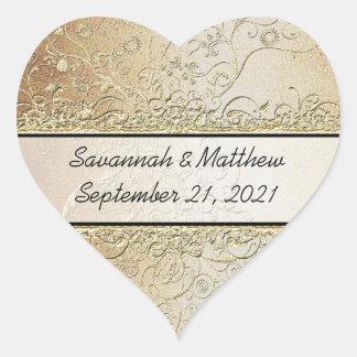 Sticker Cœur Joint d'or et de mariage de coeur de remous de