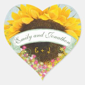 Sticker Cœur Joint floral de mariage de tournesol de rose et de