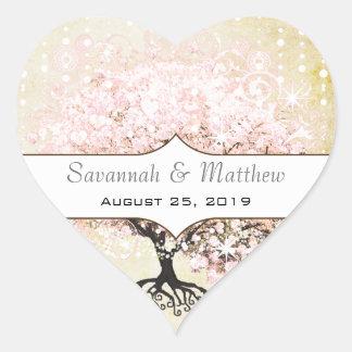 Sticker Cœur Joint romantique de mariage d'arbre de rose de