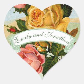 Sticker Cœur Joint rose floral vert et jaune rose de mariage